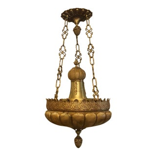 Elegant Baroque Alabaster Gilt Bronze Chandelier by Naurelle For Sale
