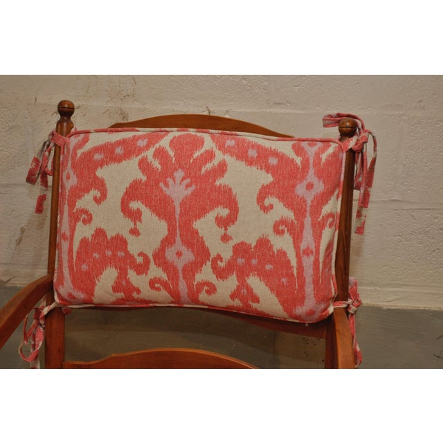 Ikat French Ladderback Cushioned Rush Seat Chairs - A Pair - Image 8 of 8