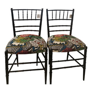 1970s Bamboo Side Chairs- A Pair For Sale