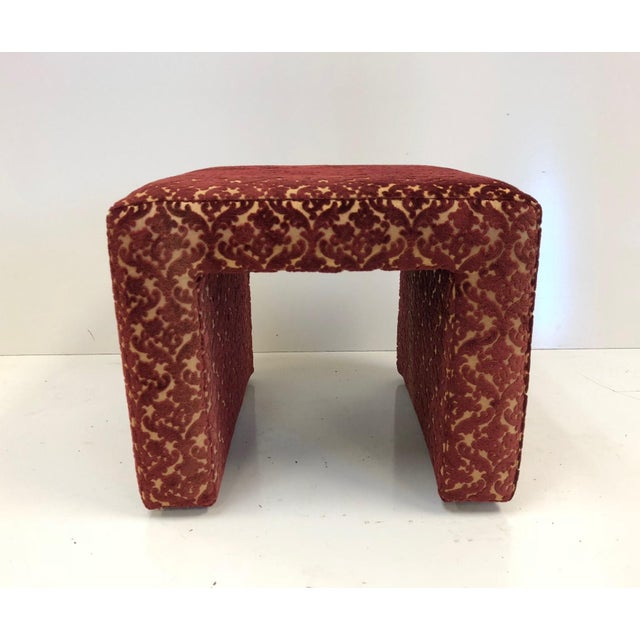 Set of four benches upholstered in vintage quilted velour fabric. Neoclassical style.