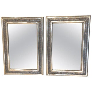 Pair of Moroccan Hollywood Regency Style Silver & Brass Console or Wall Mirrors For Sale