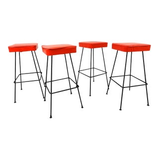 Mid-Century Modern Red Vinyl & Iron Bar Stools - Set of 4