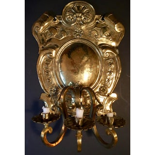 19th Century Baroque Style Large Brass Three-Light Swedish Wall Sconce Preview