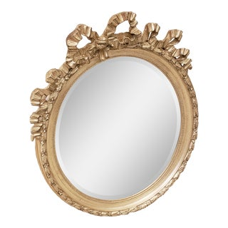 Carvers' Guild Bow Oval Wall Mirror in Sterling Silver For Sale