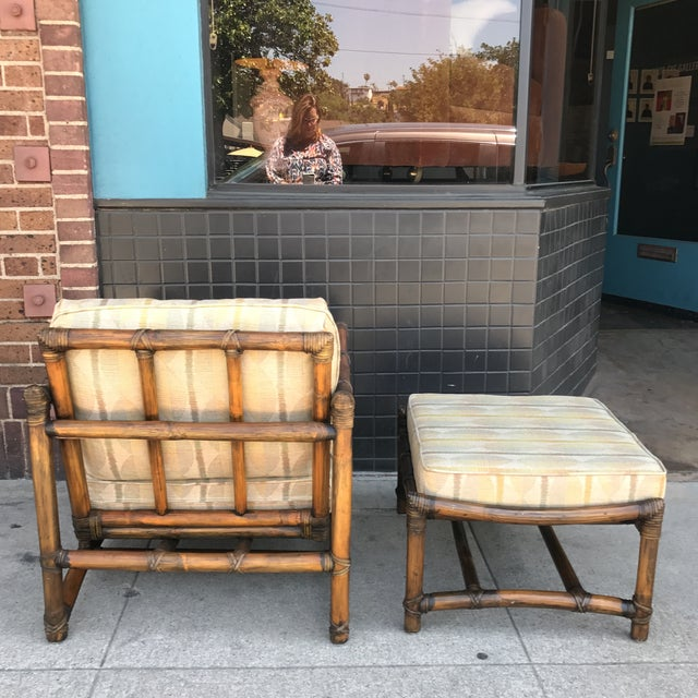 Vintage McGuire Bamboo and Linen Upholstered Lounge Chair & Ottoman - Image 5 of 10