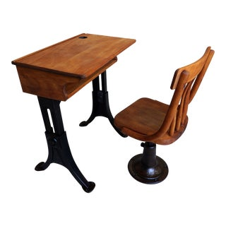1920s Heywood Wakefield Adjustable Maple Wood and Iron School Desk and Chair - 2 Pieces For Sale