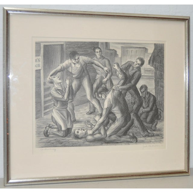 """American Social Realism Pencil Signed Lithograph titled """"Controversy"""". Circa 1936. This is a rare and early lithograph by..."""