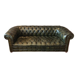 1950s Art Deco Green Tufted Leather Couch For Sale