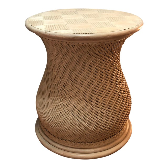 Vintage Woven Rattan Ficks Reed McGuire Boho Chic Organic Style Table For Sale