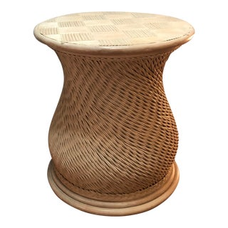 Vintage Woven Rattan Ficks Reed McGuire Organic Style Table For Sale