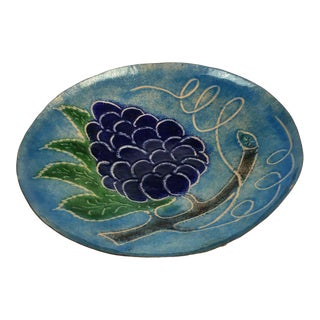 Metal Art Hand Painted Lacquer Grape Bowl For Sale