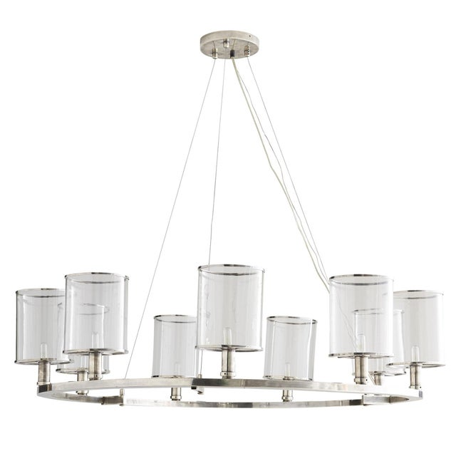 Metal Arteriors Modern Silver Metal and Glass Lorena Fixed Chandelier For Sale - Image 7 of 7