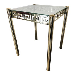 Hollywood Regency Brass and Glass Greek Key Accent Table For Sale