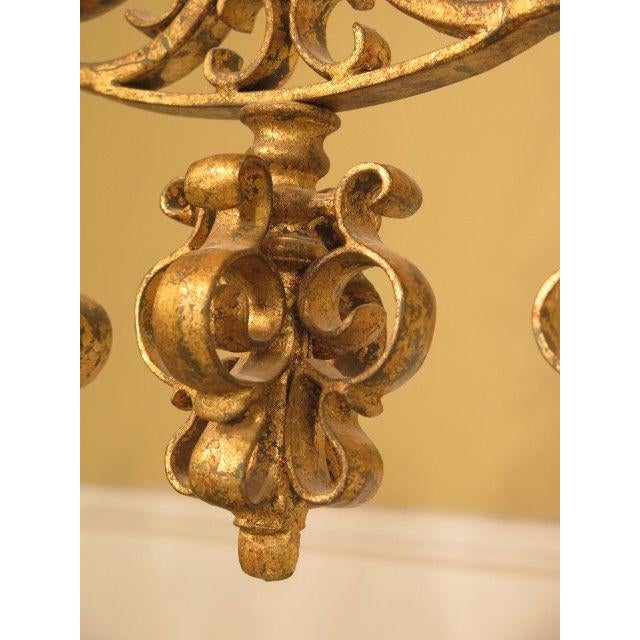 1990s Chelsea House Venetian Decorated Iron 6 Light Island Chandelier For Sale - Image 5 of 8