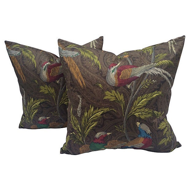 English Pheasant Paisley Pillows - A Pair For Sale
