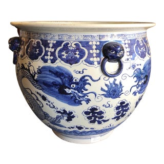 Vintage Chinoiserie Blue and White Planter For Sale