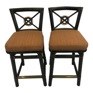 1980s Vintage McGuire Bamboo Counter Stools- A Pair For Sale
