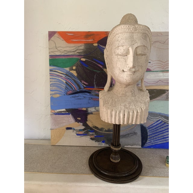 Mid 20th Century Calming Tibetan Stone Bust on Bronze Stand For Sale - Image 4 of 10