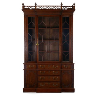19th Century English George III Style Mahogany Antique Bookcase Cabinet Preview