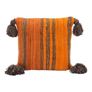 1970s Moroccan Orange Wool Throw Pillow