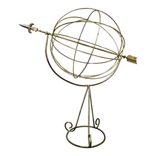 Vintage Oversized Iron Armillary Sundial With Silver Finish and Natural Patina