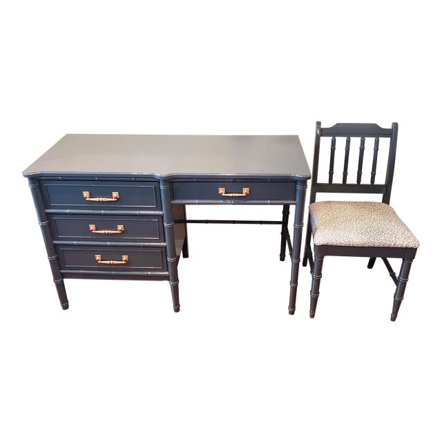 Henry Link Bali Hai Faux Bamboo Desk and Chair Set For Sale