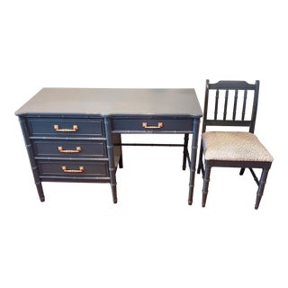 Henry Link Bali Hai High Gloss Desk and Chair Set For Sale