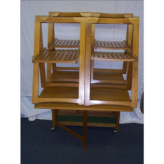 Mid-Century Romanian Modern Drop Leaf Table With 4 Wooden Chairs - Image 2 of 10