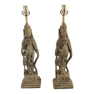James Mont Style Kwan Yin Chinoiserie Statue Lamps - A Pair