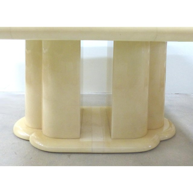 """Mid-Century Karl Springer Style 60"""" Square Goatskin Dining Table For Sale In Miami - Image 6 of 11"""