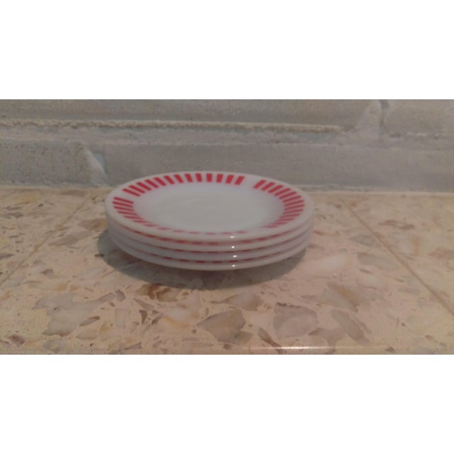 Mid-Century Modern Hazel Atlas Red Candy Stripe Dessert Plates - Set of 4 For Sale - Image 3 of 6