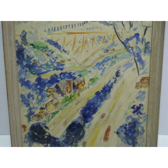 """1958 Americana Framed Original Painting, """"North Side of Pittsburgh"""" by S. Gottlieb For Sale In Pittsburgh - Image 6 of 11"""