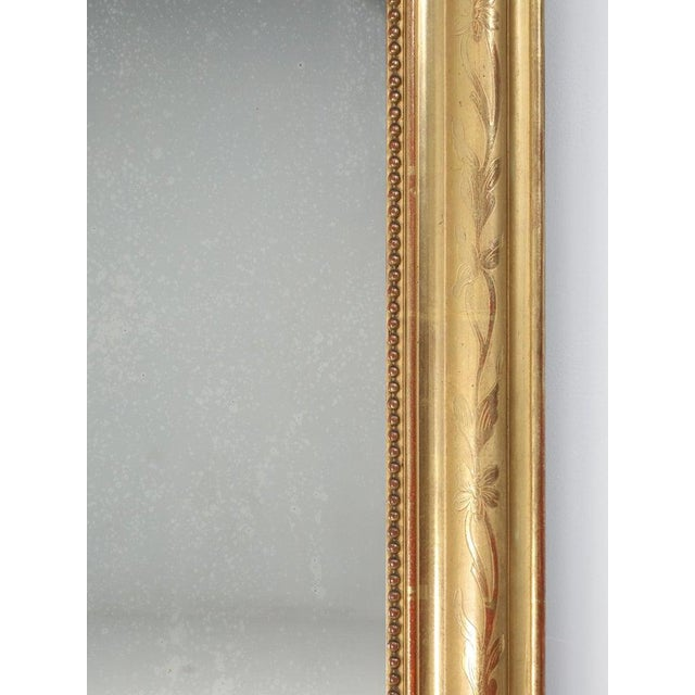 Wood Antique French Louis Philippe Mirror Original Gilding For Sale - Image 7 of 12