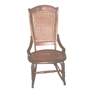 19th C Walnut Caned Rocker For Sale