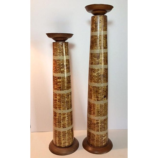 Handcrafted Mixed Media Pillar Candle Holders - a Pair - Image 2 of 6