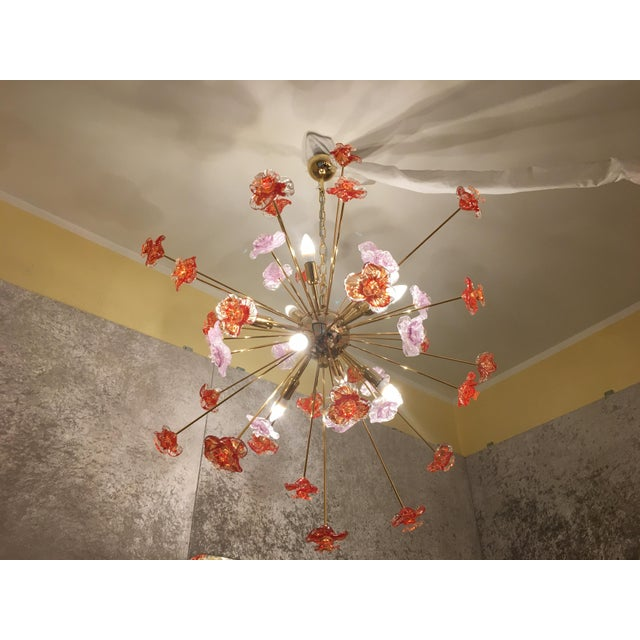 Red Murano Glass Flowers Chandelier For Sale - Image 8 of 9