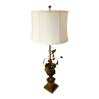 Mid-Century Bronze Cut Metal Table Lamp For Sale