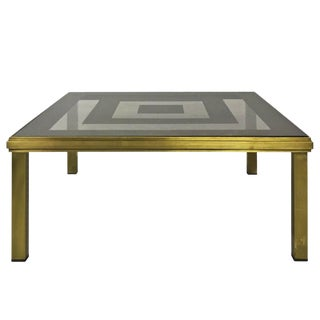 1970s French Square Brass Coffee Table With Concentric Mirror Top For Sale