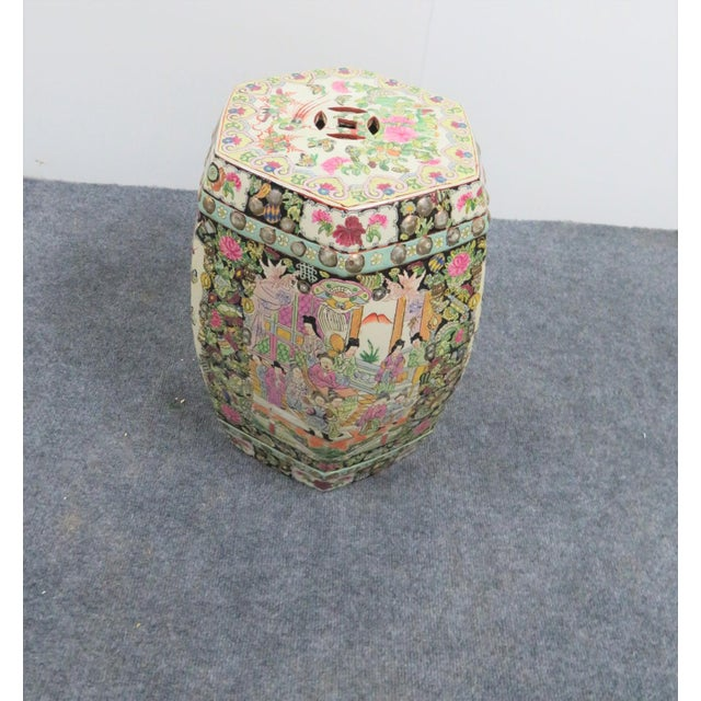 Rose Medallion pattern porcelain garden stool. Made in the mid 20th century