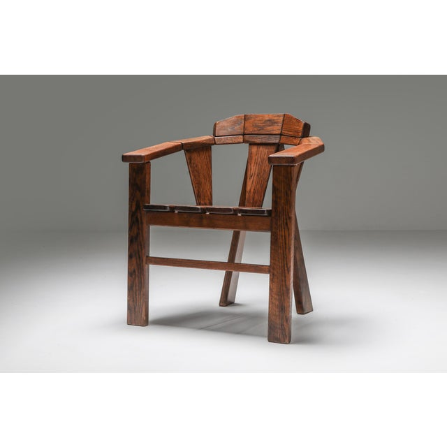 Walnut Craftsman Chair - 1960s For Sale - Image 6 of 13