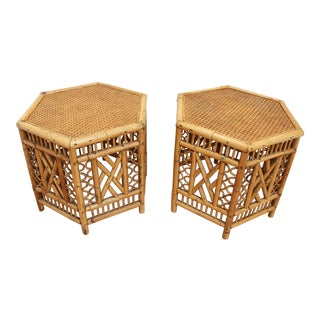 Pair of Vintage Brighton Pavilion Hexagonal Side Tables- Chinese Chippendale For Sale