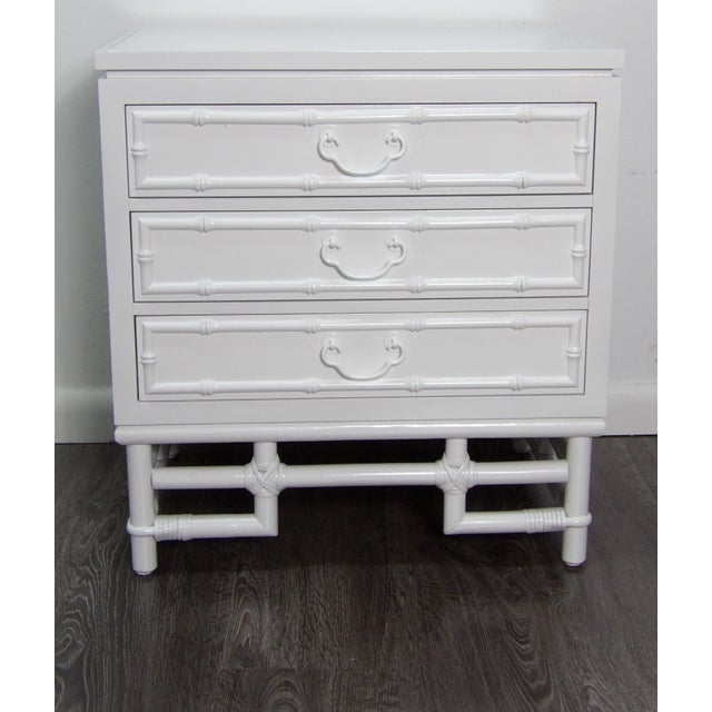 Wood Ficks Reed Nightstand, Three Drawer, New White Lacquer Finish For Sale - Image 7 of 7