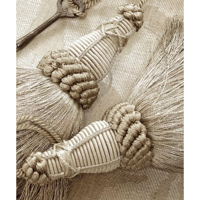 Pair of Key Tassels in Pewter With Looped Ruche Trim For Sale - Image 10 of 11