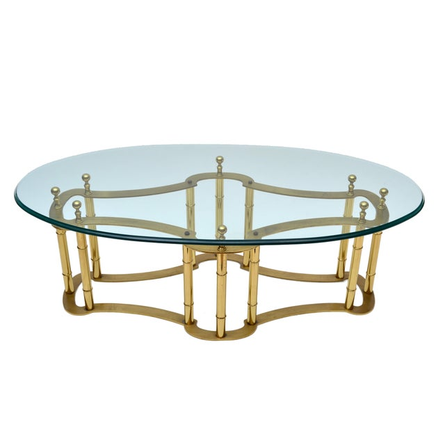 Brass Mastercraft Brass Coffee Table with Oval Glass Top For Sale - Image 7 of 10