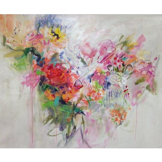 "Cooper Acrylic Painting ""Floral Abstraction 4"", Contemporary Large Pink Floral Abstract For Sale"