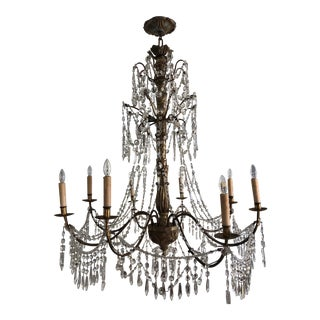 Antique Genovese Giltwood Iron, Wood and Crystal Chandelier For Sale