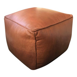 Square Pouf by Mpw Plaza, Brown (Stuffed) Moroccan Leather Pouf Ottoman For Sale