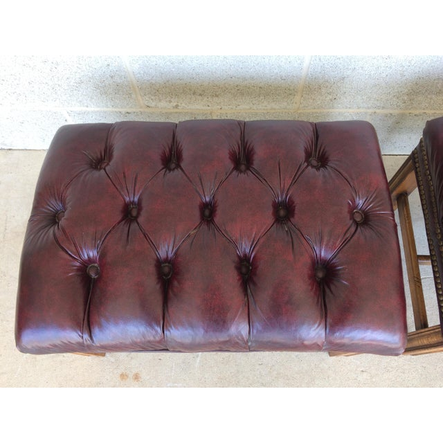 Chippindale Style Stretcher Base Oxblood Footstools A Pair - Image 3 of 9