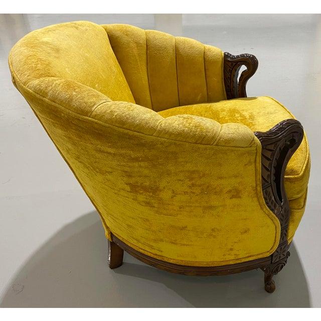 Antique yellow Velvet Swan Carved barrel back wood frame chair.