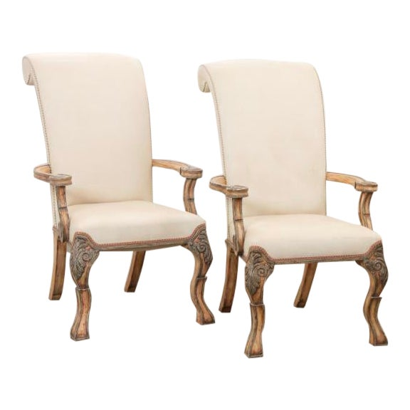 18th C Style Carved Italian Perugian Arm Chairs For Sale